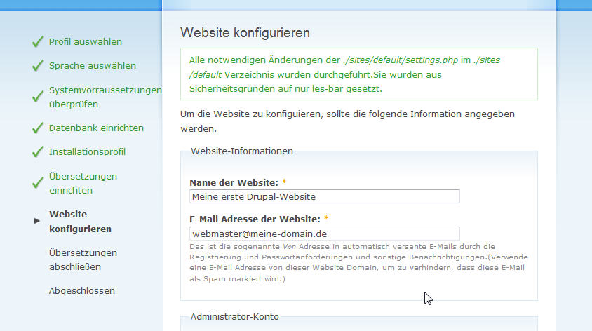 Drupal Installation Website-Infos 1