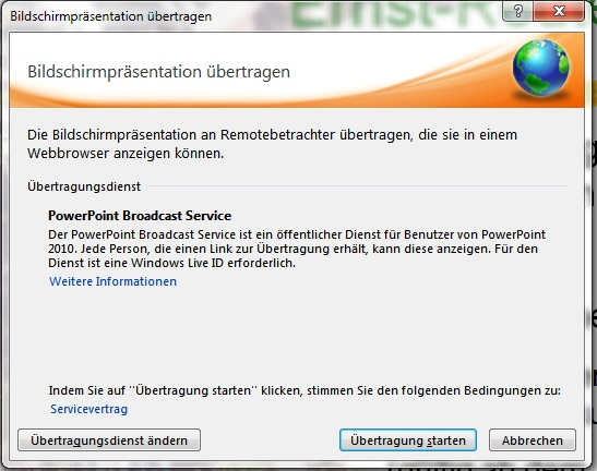 Powerpoint 2010 Dialog Internet