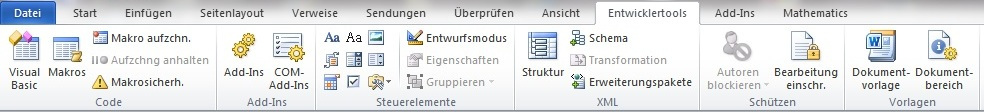 Menüband Entwicklertools in MS Office 2010