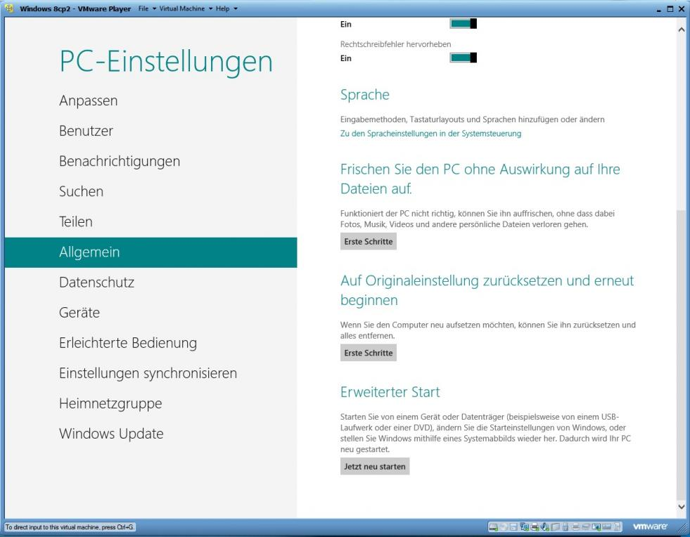 Windows 8: Refresh und Reset