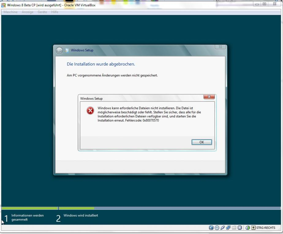 Virtualbox: W8 Installationsende