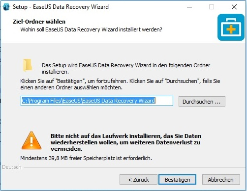 EaseUs Data Recovery Wizard - Installation