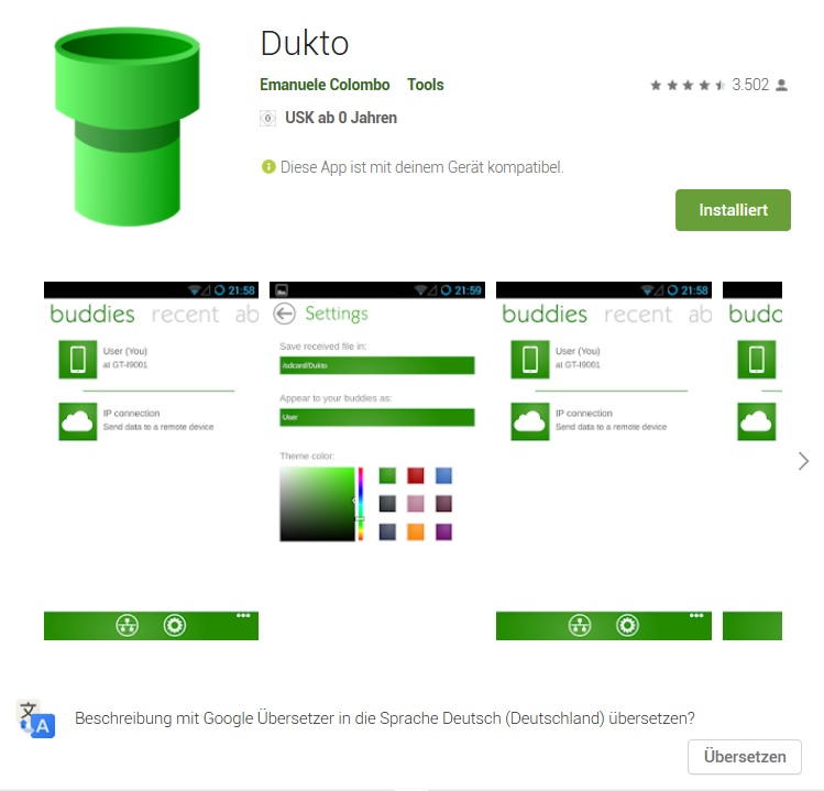 Dukto im Android-Store